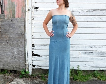 ORGANIC Love me 2 Times Corset Long Dress - ( light hemp and organic cotton knit ) - organic hemp dress