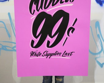 """Unlimited Cuddles 26""""x40"""" purple screen printed poster"""