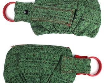 Green Red & Black Textured Woven Bracelet Wristlet Handbag