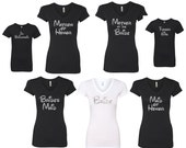 Bride Bridesmaid Maid of Honor tees DISNEY font  glitter design great  shirt V neck