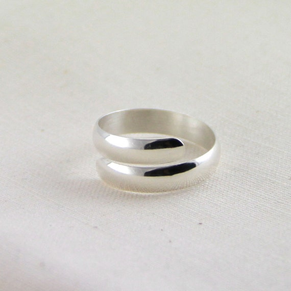 sterling silver spiral ring silver wrap ring adjustable