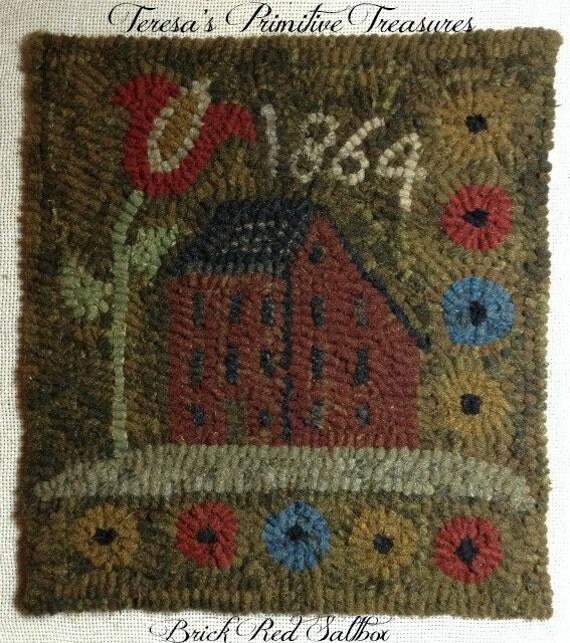 Washable Primitive Rugs: Primitive Hooked Rug Pattern On Monks Cloth Brick Red Saltbox