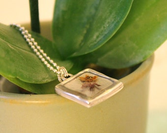 Butterfly Milkweed Blossom Pressed Flower and Sterling Silver Chain