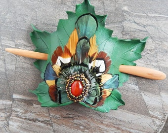 Leather Leaf Hair Ornament With Carnelian Agate And Featherwork Mandala - Luxury Leather Hair Accessory
