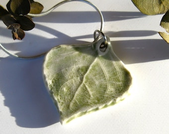 Light Green Leaf Pendant, Porcelain Pendant with Sterling Silver Chain, Ceramic Jewelry, Handmade Necklace, OOAK
