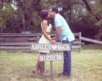 Save The Date Sign, Wedding Sign Photo Prop, Rustic Wedding Photos, Wooden Sign With Names and Date, Country Wedding Prop For the Eco Bride