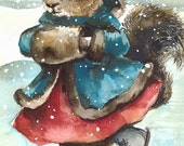 Holiday Cards, Christmas Cards - Skating- Squirrel Card Set