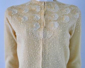 Vintage 50s Beaded Cardigan Sequin Swirls Lambswool Small
