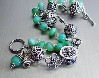 Apple Green Chrysoprase-Bali Handmade Silver-2 Strand Toggle Bracelet with Charms