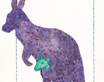 Kangaroo, Kangaroo Art, Mom and Baby, Purple Kangaroo With Green Baby, Original Painting