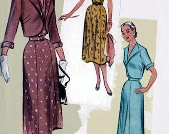 Vintage 1950s Dress Jacket Bolero Sewing Pattern McCalls 8387 Low V Neckline 50s ROCKABILLY Clothing Pattern Size 12 Bust 30 UNCUT