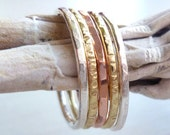 Stacked Rings - Sterling Silver - Brass - Copper - Hammered - Mixed Metal - Textured - Stackable - Unisex - Custom Made - Hipster Jewelry