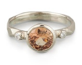 Orange Sapphire and Diamond Faceted Engagement Ring: White Gold - Ready to ship