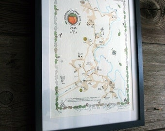"Limited Edition Letterpress Art Print - ""Oregon Country Fair - 2013"" Map"