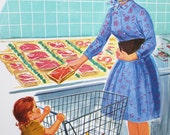 Vintage School Poster Mother Daughter Grocery Shopping Illustrated Color Print 60s