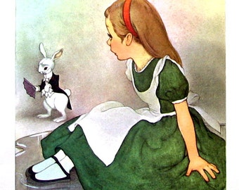 Alice In Wonderland - Alice and the Rabbit - Lewis Carroll - Marjorie Torrey Illustration - 1955 Vintage Book Page - 9 x 7
