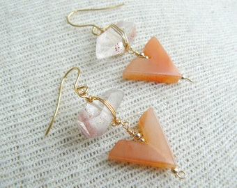 Clementine Earrings- Sunstone and Agate Dangle Earrings- SS 15, Spring Jewelry Gem Stone Earrings