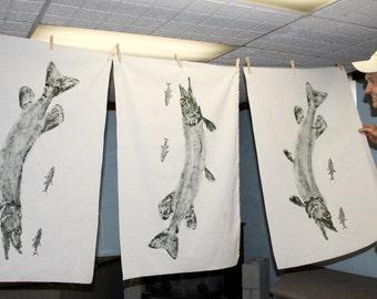 Northern Pike GYOTAKU Fish Rubbing Art Original Lake House Decor on Best premium 40X25 Muslin