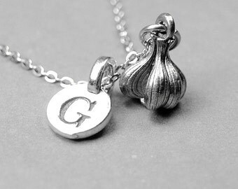 Garlic Bulb Necklace, garlic necklace, garlic jewelry, silver pewter, antiqued, initial necklace, initial jewelry, personalized, monogram