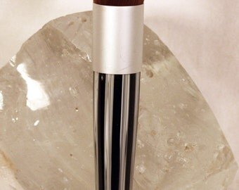 Black and White Striped Acrylic Cosmetic Satin Silver Blush Brush