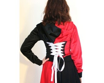 Harley Quinn Corset Hoodie Cosplay Red Black White Cropped Zipper Hooded Sweatshirt Jacket plus size S M L XL 2XL 3XL Faux Fur costume