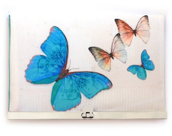 Wallet clutch, blue butterflies bag, silver purse clasp, MORPHO BUTTERFLY