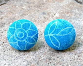 Indah ~~ Batik Fabric Button Earrings. SMALL. 7/8 Inches. Stainless Steel Posts. Non-Tarnish. Lead Free. Nickel Free