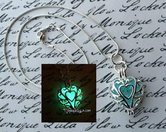 Silver Plated Frozen Heart Galaxy Glowing Glass Necklace