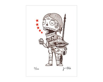 Unmasked Leia Boushh Calavera Limited Edition Gocco Screenprint Day of the Dead Art