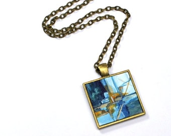 Original Art Pendant Necklace , FREE Shipping, Abstract painting, art, Wearable Art, Blue and Yellow Necklace, Hand painted Pendant