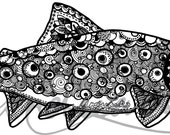 Brook Trout Pen and Ink Zentangle Vinyl 3M Decal