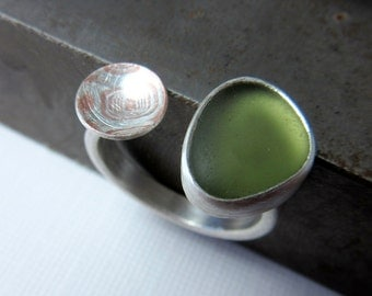 Mokume-gane and Forest Green Glass Ring, Sea Glass Ring, Two Part Ring, Mixed Metal Ring