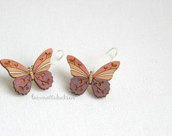 Wooden butterfly dangle earrings, Pink butterfly jewelry, wood butterflies