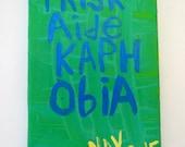 Triskaidekaphobia - Small Folk Art Typography Word Art Text Painting NayArts - Fear Of Number Thirteen