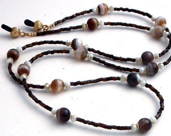 Beaded Eyeglass Chain - Brown Stone with White Gray, White Tan Crystal Rondelles, Brown Seedbeads Reading Glasses Holder