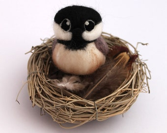 Black Capped Chickadee Needle Felted Bird