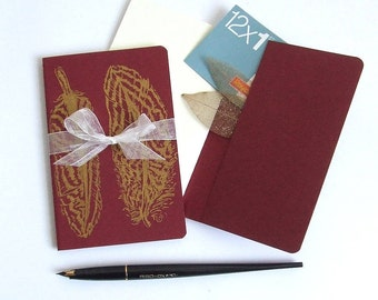 Sale Golden Feathers Red Notebook Moleskine Journal in Red