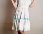 Vintage Patio Squaw Dress - White and Turquoise Country Square Dance Dress - Large XL