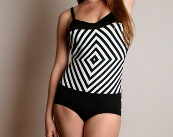 Vintage 1960s Bathing Suit - Black and White Mind Trick Maillot  -  Medium