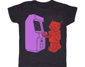 KIDS Robot Arcade - Tshirt Videogame Atari Nintendo Sega Computergame Xbox Pacman Geek T-shirt Boy Girl Toddler Minecraft Children Tee Shirt