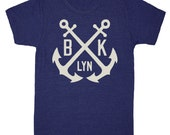 Brooklyn Anchor - Mens Unisex T-Shirt Tee Shirt Nautical Boat Crew Navy Blue Navy NYC Retro Vintage Inspired Tri Blend Indigo Tshirt