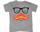KIDS San Francisco Mustache T-shirt Boy Girl Toddler Youth Children Tee Shirt Cute Beard Hipster Geek Funny California SF West Coast Tshirt