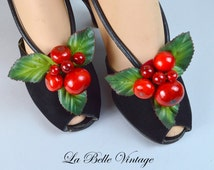 Bunches of Cherries ~ Vintage 50s Pinup Shoe Clips
