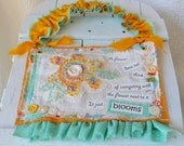 Mixed Media Fiber Art Hanging - It just Blooms - Turquoise and Gold