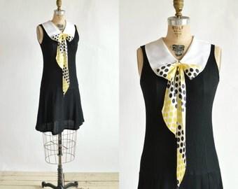 1960s Mod Mini Dress --- Vintage Black Dress