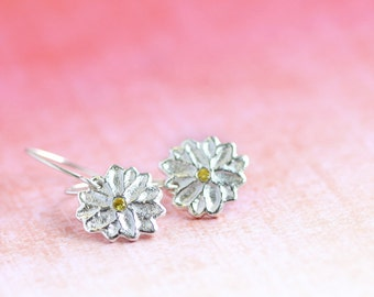 silver flower earrings, fine silver, elegant floral jewellery, sterling, flos