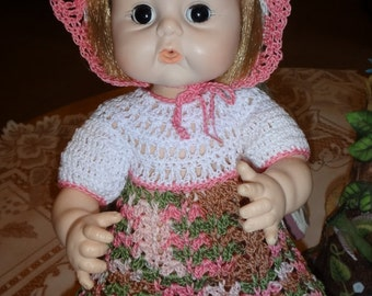 Crochet outfit Sweet Tears 12 13 inch baby doll Dress Set Pink Green Brown Cotton