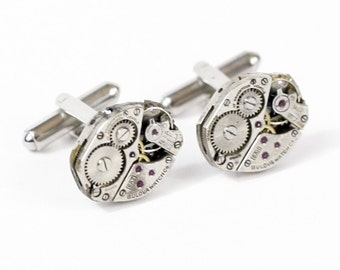 Steampunk Silver Cufflinks with Perfectly Matched Buloova Vintage Watch Movements by Velvet Mechanism