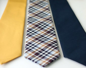 Men's Necktie cotton, yellow gold, navy or plaid (more color options)