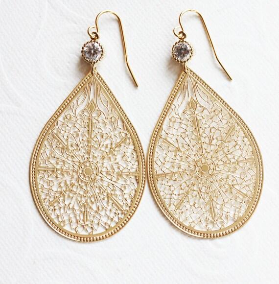 Teardrop Filigree Earring Crystal Gold Filigree Earring, Bridesmaids Earrings,